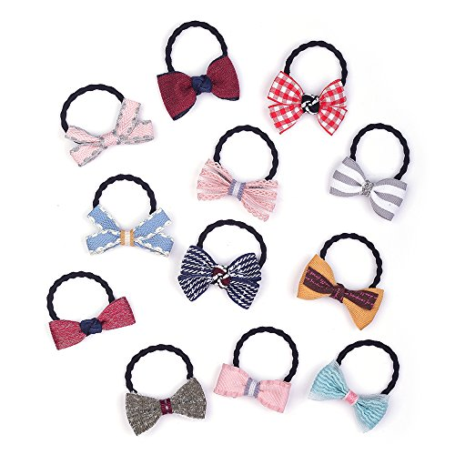 (Belle Beau Baby Girls Bow Elastic Ties,Ponytail Holders,Hair Bands,Hair Elastics,Value Set (H))
