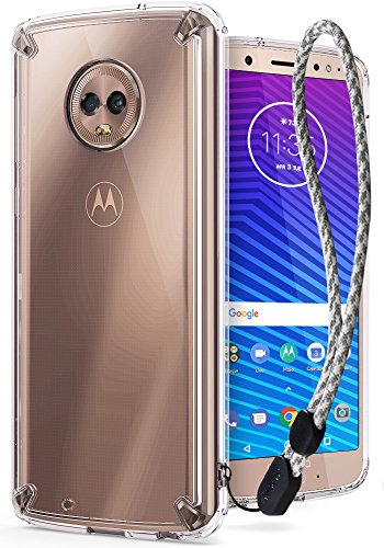 Ringke [Fusion] Compatible with Motorola Moto G6 Case Crystal PC Back [Anti-Cling Dot Matrix Technology] Lightweight Transparent TPU Bumper Phone Cover with Wrist Strap for Moto G 6 2018 - Clear
