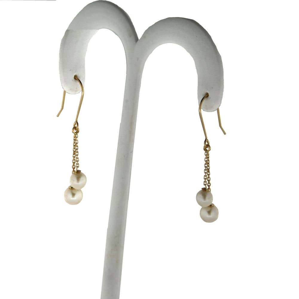 18K Dangle Cultivated Pearls earring with hook .Cultivated Pearls 5.1 mm and 6.30 mm 1.40 inch long