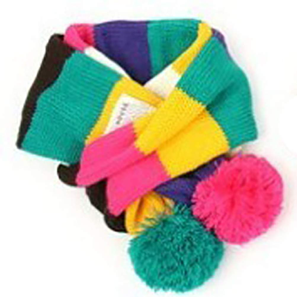 NICOLA Kids Stripe Winter Scarf Knit Warm Scarves with Poms for Boys Girls