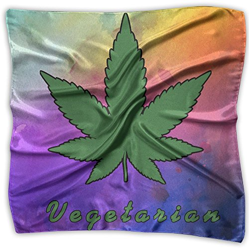 Vegetarian Marijuana Leaf Weed Smoker Silk Scarf Womenâ€s Fashion Graphic Square Neckerchief M