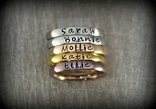 Petite Stacking Ring Word Rose Silver Gold Stainless Steel Personalized Ring Name Ring Stack Ring Stackable Custom Ring Mantra Bible Verse
