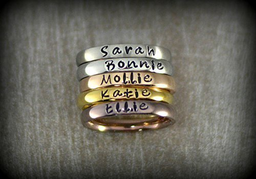 Personalized Stackable Name Ring – Stacking Rings – Matte, Shiny, Rose Gold, Gold and Coffee Colors – 3mm Width