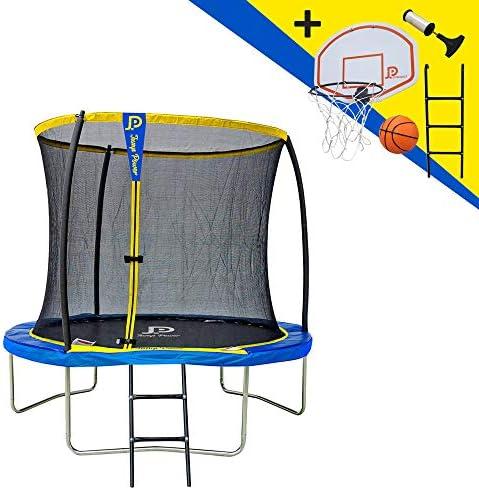 JUMP POWER - Cama elástica con Escalera y Cesta de Baloncesto, diámetro 244 cm, Unisex, Amarillo y Azul, diámetro: Amazon.es: Deportes y aire libre