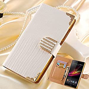 Luxury Wallet Shining Crystal PU Leather Case for SONY Xperia C S39H C2305 Bling Rhinestone Buckle Flip Phone Bag Cover --- Color:red case