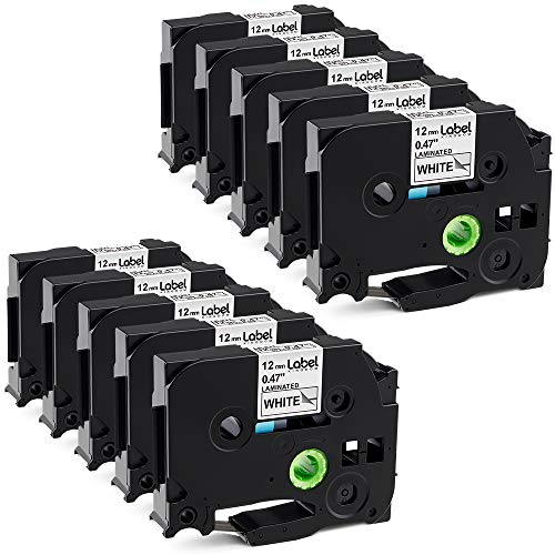 Label KINGDOM 10 Pack Compatible with Brother P Touch Label Tapes TZe-231 12mm 0.47 inch Black on White Laminated Tape Replace for P-Touch  Label Maker PTD210 PTH100 PTH110 PTD400 - Label Tape Roll Laminated Printers