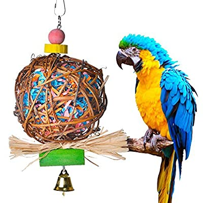 Myguru Bird Toys, Medium Small Bird Chewing Bite Parrot Cage Toy for Small African Grey Macaws Cockatoos by Yestech