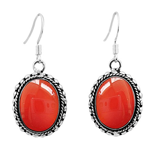 18.50ctw, Genuine Carnelian & 925 Silver Plated Dangle Earrings Made By Sterling Silver - India Women In