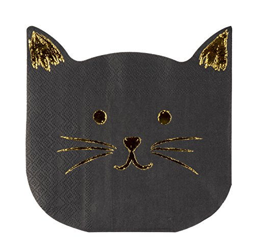 Cocktail Napkins - 50-Pack Luncheon Napkins, Disposable Paper Napkins Birthday Party Supplies, 2-Ply, Cat Die-Cut Shaped Design with Gold Foil, Folded 6.5 x 6.2 inches]()