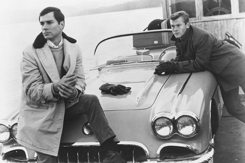 Route 66 Martin Milner George Maharis with their 1962 Corvette Convertible 24X36 (Route 66 Memorabilia)