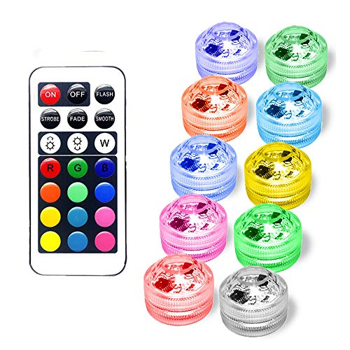 Flameless LED Tea Lights Candles Submersible LED Lights Remote Control Multi Color Option Battery