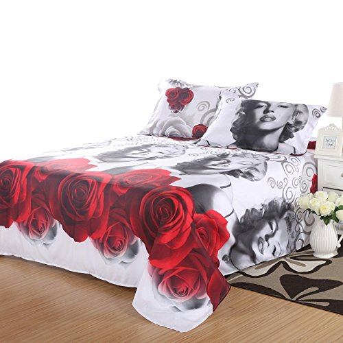 Lenzuola Matrimoniali Marilyn Monroe.Buy Lt Twin Size 3d Marilyn Monroe Gray Red Rose Bedding Sets