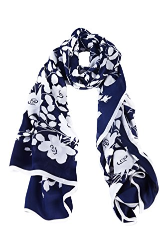 "Lusm Women's Soft Lightweight Floral Mulberry Silk Long Beach Chiffon Scarf Shawl 69.29""x 24.4"" (Dark blue white)"