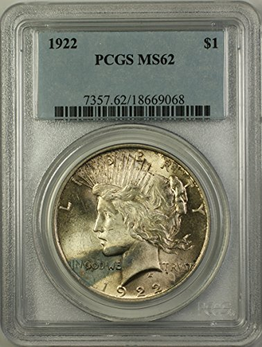 1922 Peace Silver Dollar Coin (ABR12-S) Toned $1 MS-62 PCGS