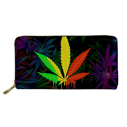 Instantarts Leather Long Wallet Clutch Purse for Womens Bussiness Cards Organizer (Hemp Leaf)