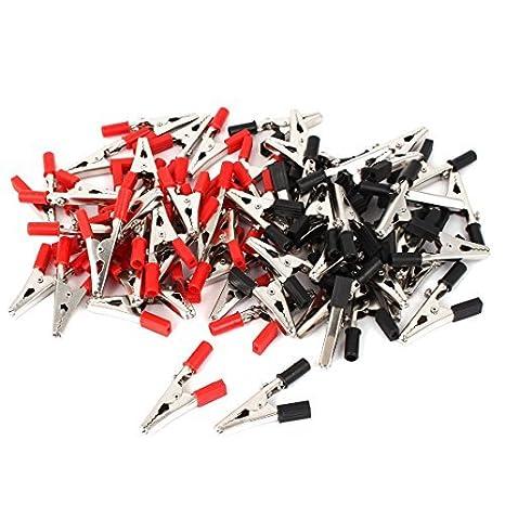 eDealMax 66pcs Negro rojo plástico con aislamiento de cubierta prueba del cocodrilo abrazadera del clip de 55 mm de largo - - Amazon.com