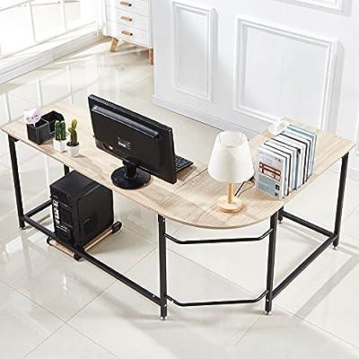 Hago Modern L-Shaped Desk Corner Computer Desk Home Office Workstation Wood & Steel PC Laptop Table from FurnitureR