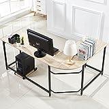 Hago Modern L-Shaped Desk Corner Computer Desk Home Office Workstation Wood & Steel PC Laptop Table