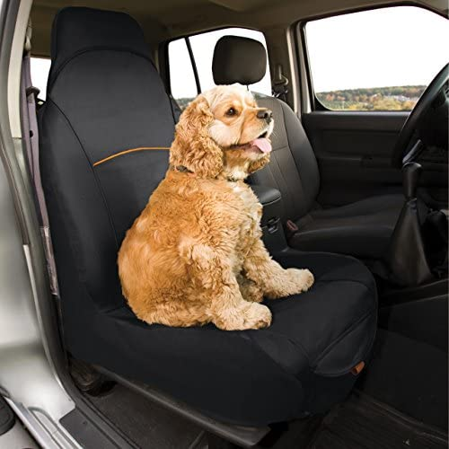 Kurgo Bucket Seat Covers for Dogs Dog Front Seat Cover Pet Seat Protector Car Seat Cover for Pets Copilot Shorty Full Half Coverage Waterproof Seat Cover Black Hampton Sand Khaki