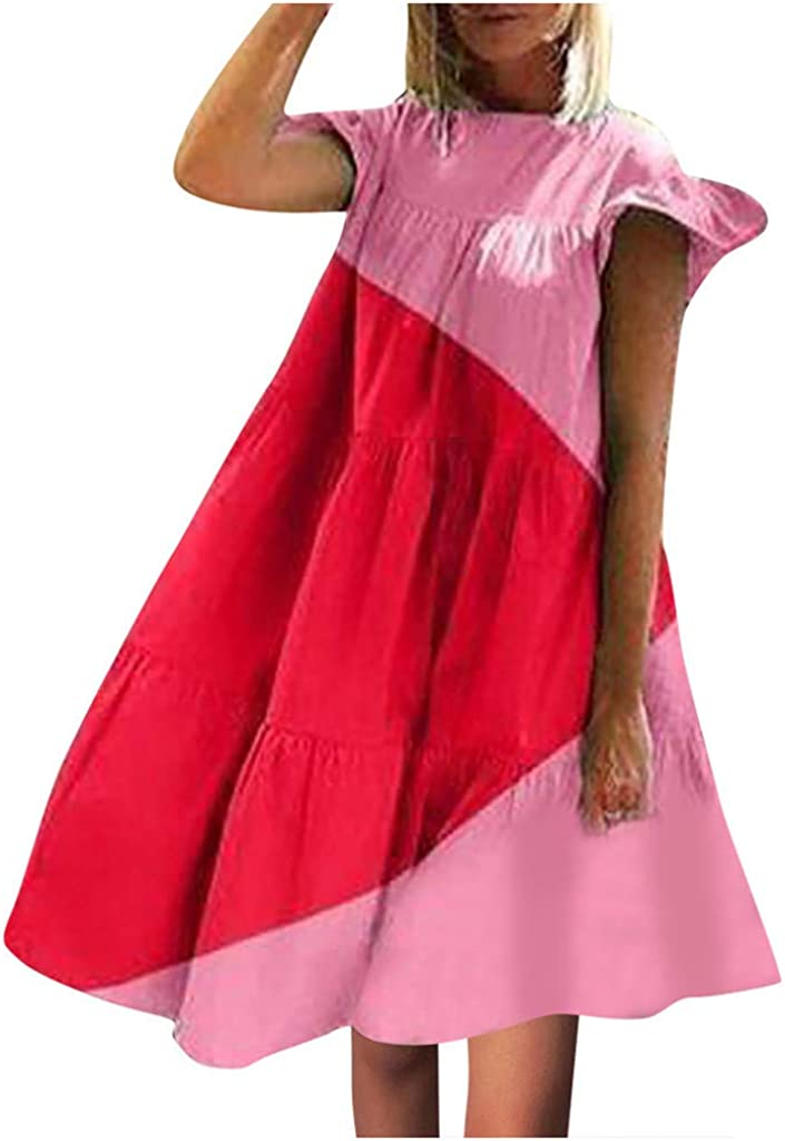 MRktkr Women Contrast Patchwork Ruffle Sleeve O-Neck Loose Tutu Dress Mini Dress