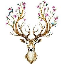 Bien-Zs Christmas Deer Wall Sticker Elk Head Wallpaper Thanksgiving Cute Decor for Bedroom/Nursery/Car/Kitchen etc.
