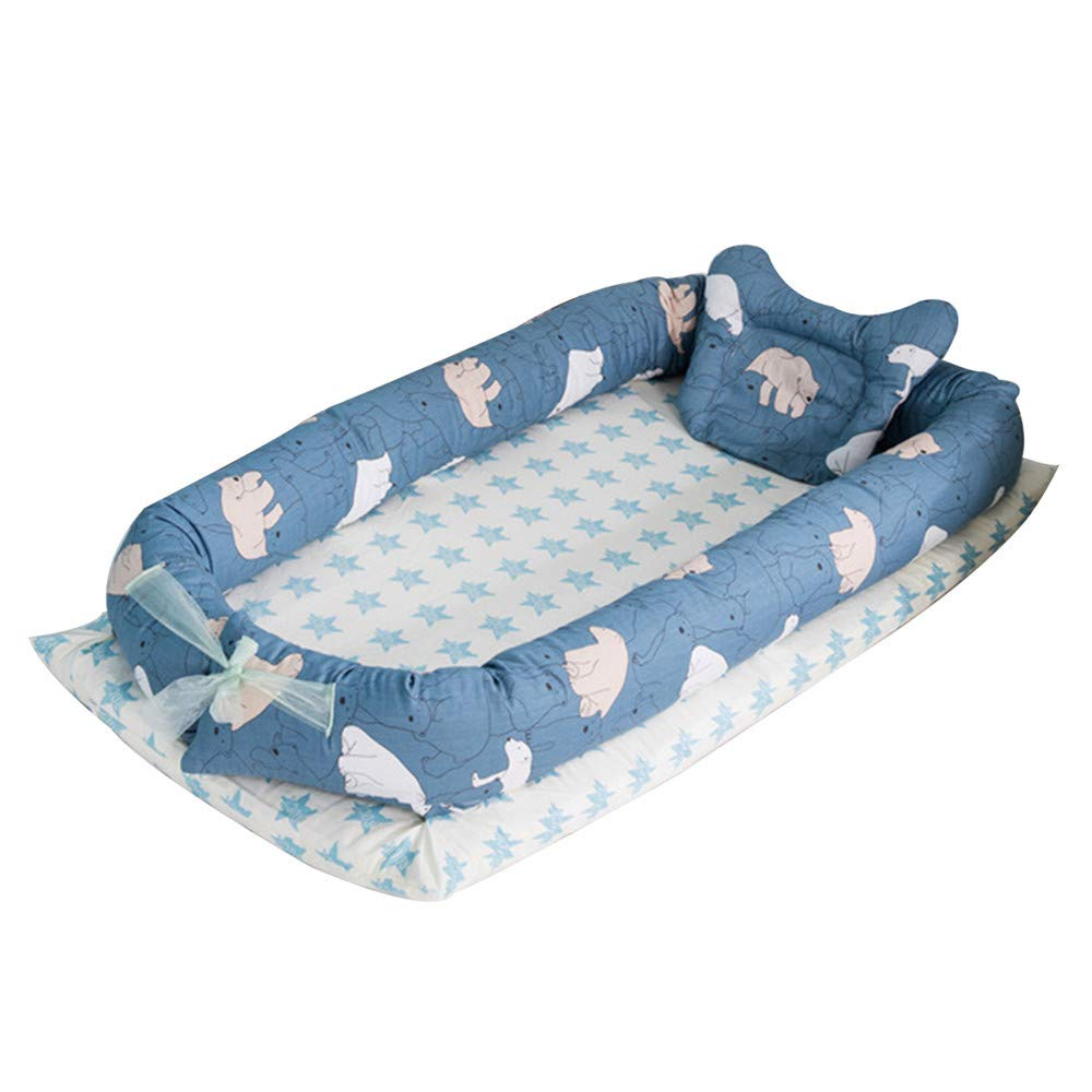Dinosaur Baby Lounger Breathable /& Hypoallergenic Co-Sleeping Baby Bed 100/% Cotton Portable Crib for Bedroom//Travel Abreeze Baby Bassinet for Bed