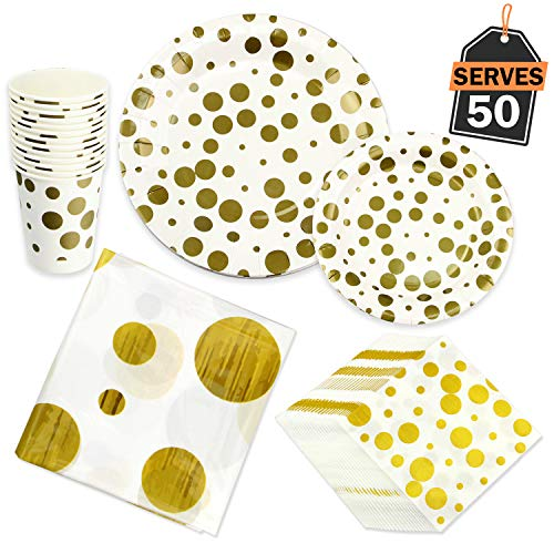 201 Piece Gold Dot/Polka Dot Party Supplies Set for 50, Including Plates, Cups, Napkins and Tablecloth