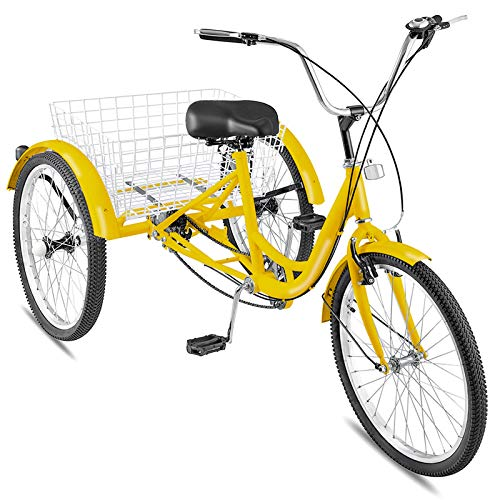 (Happybuy 24 Inch Adult Tricycle Series 6/7 Speed 3 Wheel Bike Adult Tricycle Trike Cruise Bike Large Size Basket for Recreation, Shopping,Exercise Men's Women's Bike (Yellow/7-Speed) )