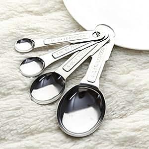 JASTON 4Pcs Stainless Steel Kitchen Cook Measuring Spoon Teaspoon Set