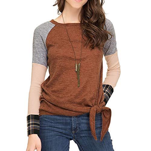 Pink Quarter Ribbon Socks (SUJING Womens Long Sleeve Sweatshirt Loose T-Shirt Blouses Tops Loose Tunic Tops Pullover S-XL (Coffee, XL))