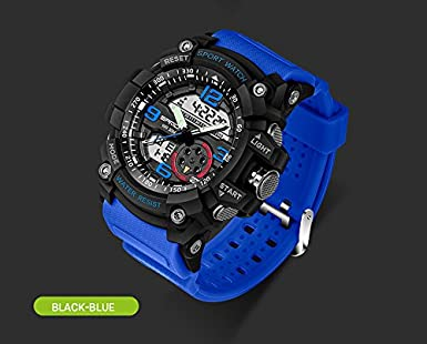 Amazon.com: Berfea Military Watch Men watches Waterproof Sport Watch For Mens Watches Top Brand Luxury Clock Camping Dive relogio masculino (Blue-Black): ...