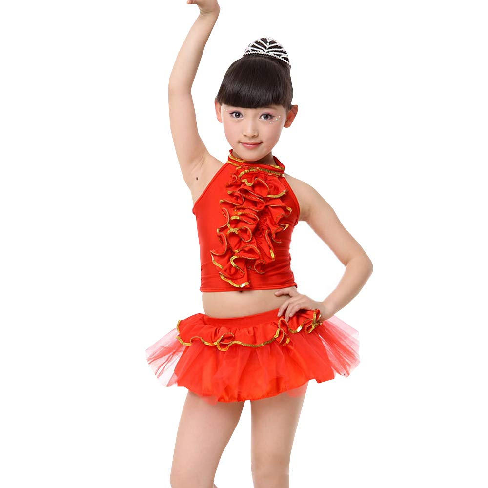 ZEVONDA Set Latino per Bambini - Costume da Ballo Latino per Ragazze Modern Jazz Tutu Skirt
