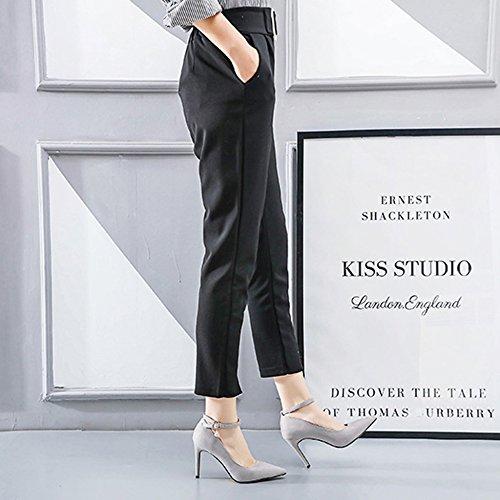 Correa Fiesta Grey Stiletto Hebilla Bajos Cy Tobillo Bombas Altos Moda Señoras Tacones Vestido De Las Mujer Sexy OpXqaxqw