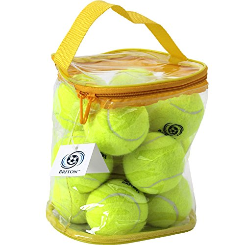 Briton Pressure Less Tennis Balls with Carrying Bag (Pack of 12)