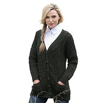 Amazon.com: Aran Crafts Irish Merino Wool Aran Knit Boyfriend ...