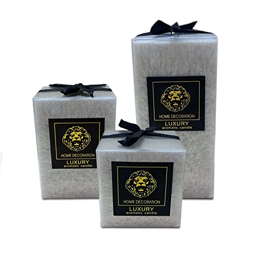 Marble Pillar Candle (Scented Pillar Candles set of 3 square Candles 3,4 & 6 inches tall Gift wrapped)