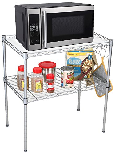Countertop Shelf Unit - Mind Reader Microwave Oven Rack Shelving Unit, 2-Tier Storage Unit with 6 Hooks for Kitchen Utensils, Towels, and Accessories