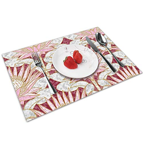 Luase Blush King Protea Art Deco (Burgundy) Table Placemats for Dining Table,Washable Placemat Heat-Resistant Set of 6(12X18 inch)