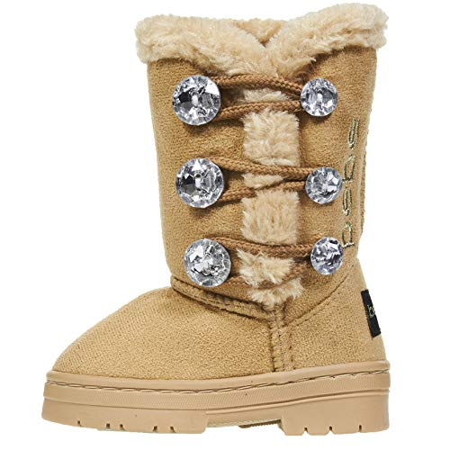 - bebe Toddler Girls Winter Boots Size 9 with Rhinestones Buttons Slip-OnFashion Shoes Tan/Cognac