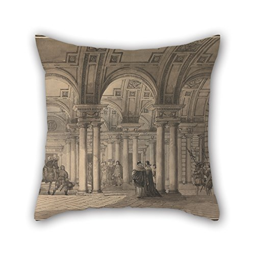 Pillowcover Of Oil Painting Jean Louis Desprez - Somerset House, The Strand Vestibule,for Dining Room,play Room,divan,club,indoor,chair 16 X 16 Inches / 40 By 40 Cm(twice Sides)