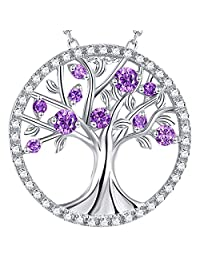 Valentines Day Jewelry Gift The Tree of Life Jewelry February Birthstone Created Amethyst Necklace Birthday Gift for Her Sterling Silver