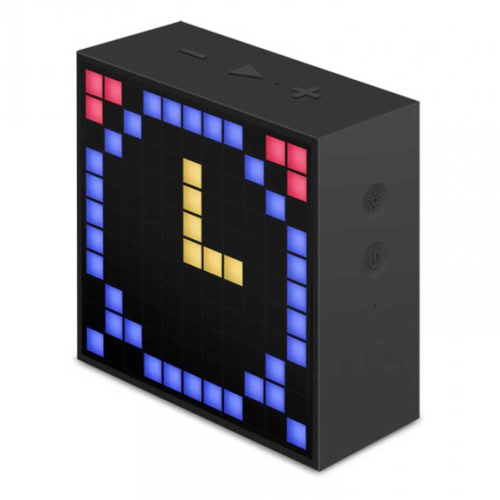 Divoom Timebox- Mini Altavoz inteligente, Reloj despertador Bluetooth para IOS/Android, negro