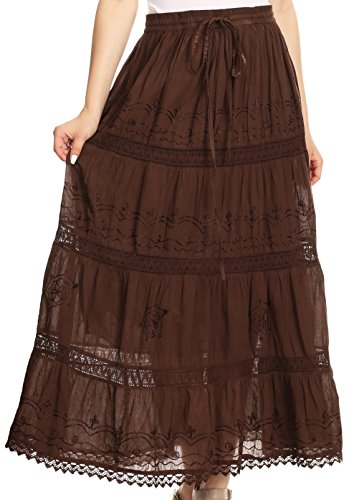 Cotton Embroidered Skirt (Sakkas AA254 - Solid Embroidered Gypsy Bohemian Mid Length Cotton Skirt - Brown/One Size)