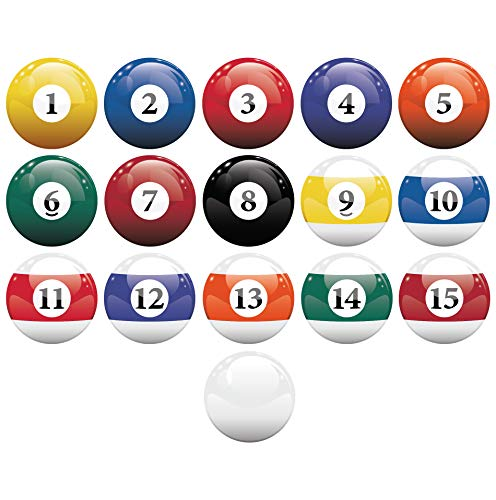 16 Realistic Color Billiard Balls Wall Decal Sticker Game Room Sign Decor (10in X 10in Size) #6089 Easy to Apply & Removable. (Decor Billiards Room)