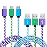 Galaxy S7 Charger, NonoUV 3-Pack 6ft Nylon Braided Micro Usb 2.0 Cable Long Samsung Charger Cord for Samsung Galaxy S6, S7 edge, S6 edge plus, Note 5, 4, HTC, LG, Tablet, Nexus, and More Android Phone