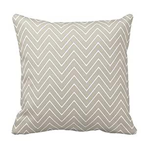 Beige White Chevron Pattern Pillow Cover For Living Room, Sofa, Etc