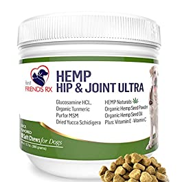 Advanced Hemp Chews for Dogs, Hip and Joint Supplement for Pain and Stress Relief, Separation Anxiety, Calming, Glucosamine and Turmeric Plus Natural Hemp Oil-Infused Treats, Maximum Potency