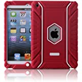 Honeycase Extreme-Duty Military Transformer Hybrid Shockproof & Drop Resistance Anti-slip Soft Silicone Case Cover for iPad Mini (Red)