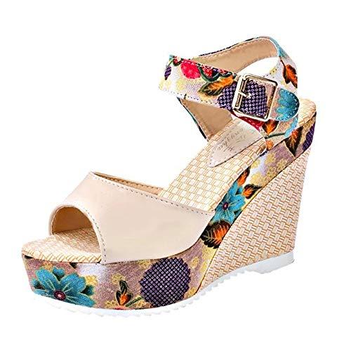 Bohemian Sandals,Boomboom Women's Leisure Wedge Sandals (Beige,US 5.5)