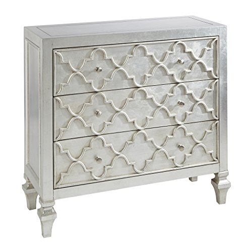 Madison Park MP130-0157 Somerset Wood, Metal Living Room Storage Carved Ogee Pattern, Modern Style 3-Drawer Dresser Chest For Bedroom, Antique Silver